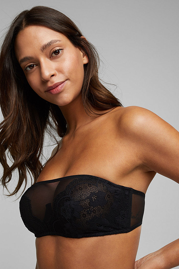 Unpadded bandeau bra with lace, BLACK, detail image number 0