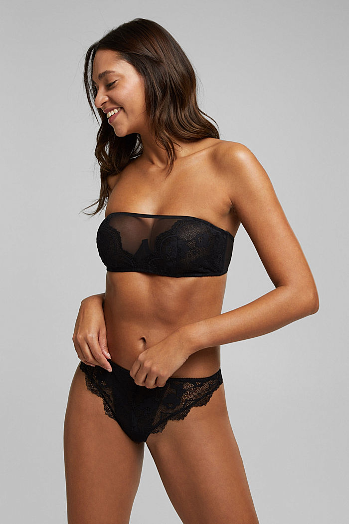 Unpadded bandeau bra with lace, BLACK, detail image number 2