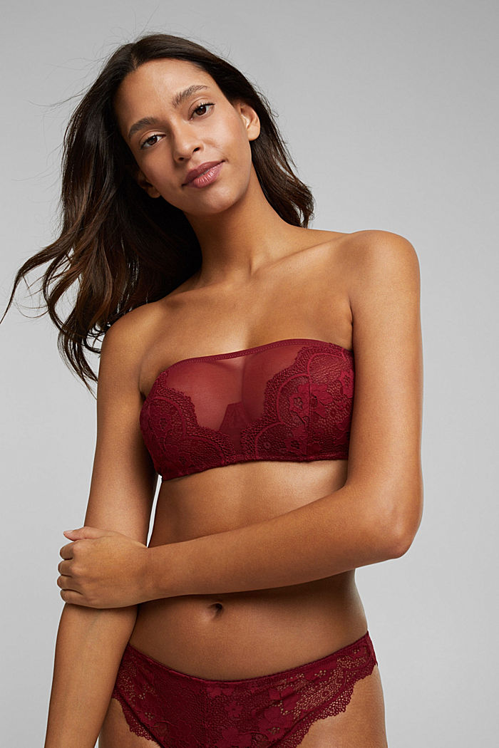 Unpadded bandeau bra with lace, DARK RED, detail image number 0