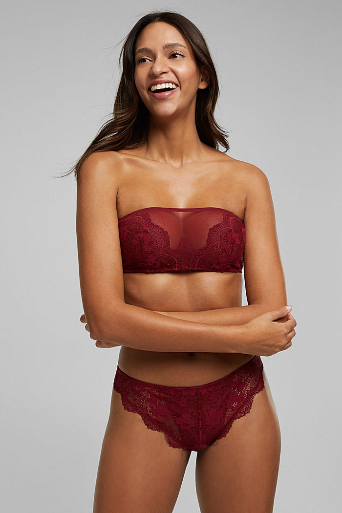 Unpadded bandeau bra with lace, DARK RED, detail image number 2