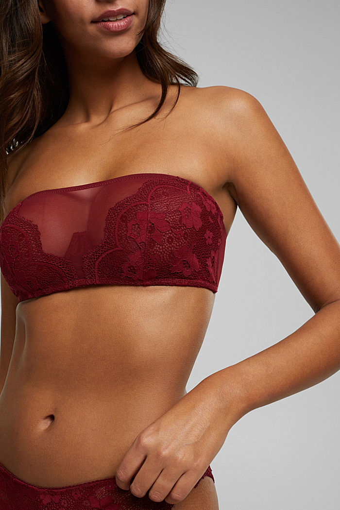 Unpadded bandeau bra with lace, DARK RED, detail image number 3