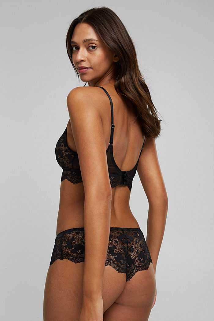 Exquisite lace on the bustier, BLACK, detail image number 1