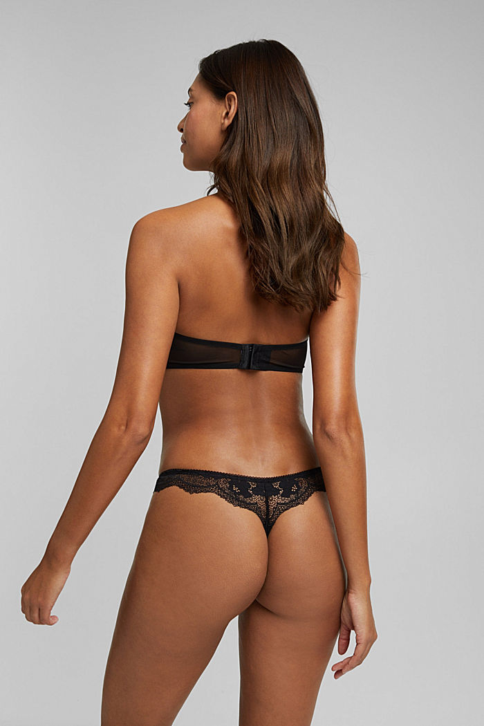 Brazilian hipster thong made of floral lace, BLACK, detail image number 2