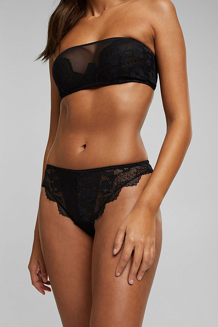Brazilian hipster thong made of floral lace, BLACK, detail image number 3