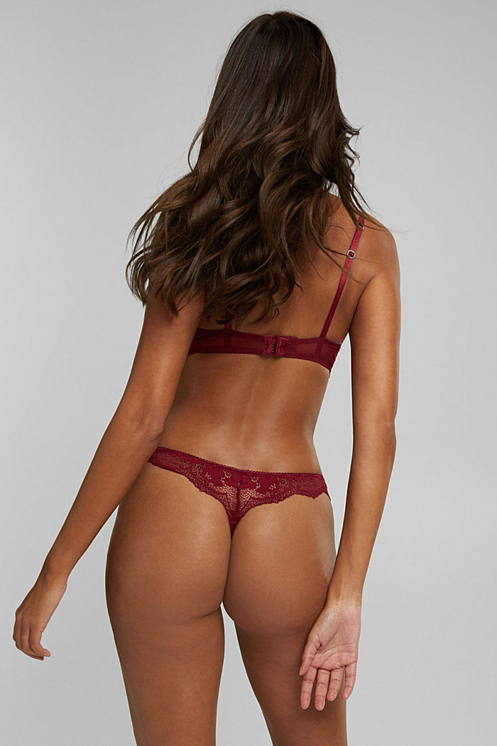 Brazilian hipster thong made of floral lace, DARK RED, detail image number 2
