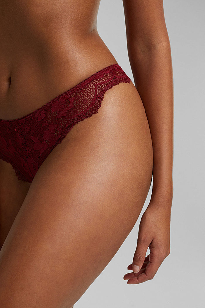 Brazilian hipster thong made of floral lace, DARK RED, detail image number 1