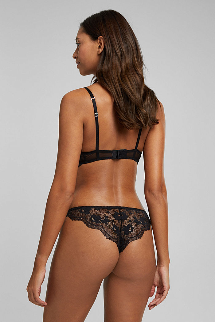 Brazilian hipster briefs made of floral lace, BLACK, detail image number 3