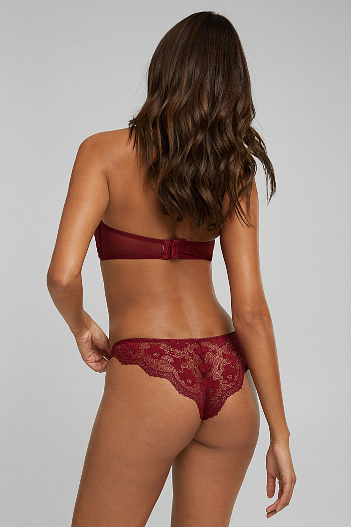 Brazilian hipster briefs made of floral lace, DARK RED, detail image number 2