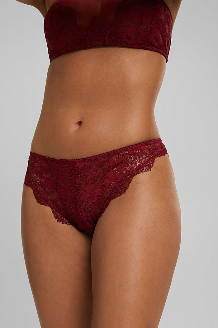 Brazilian hipster briefs made of floral lace, DARK RED, detail image number 3