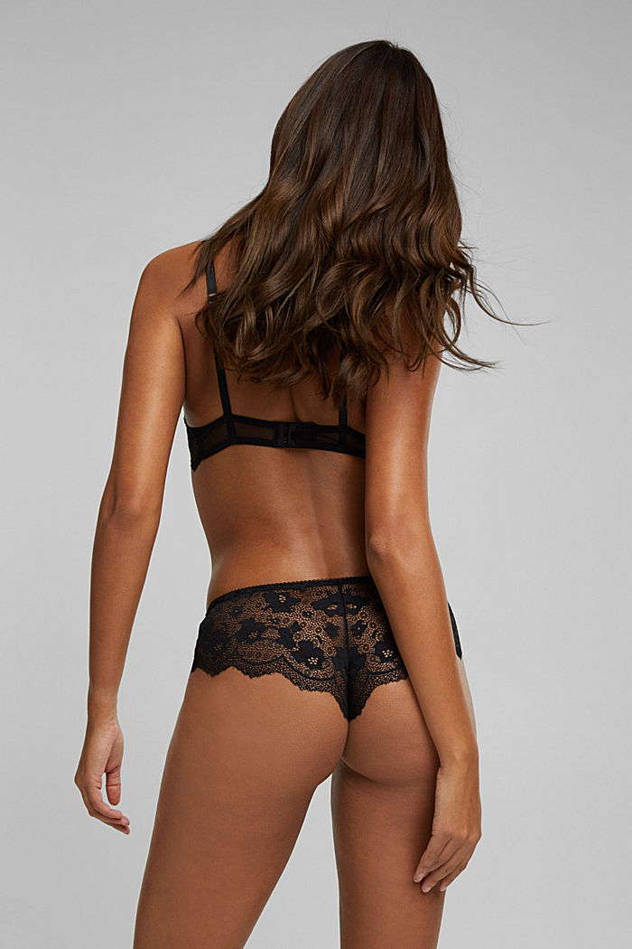 Brazilian hipster shorts made of floral lace, BLACK, detail image number 3