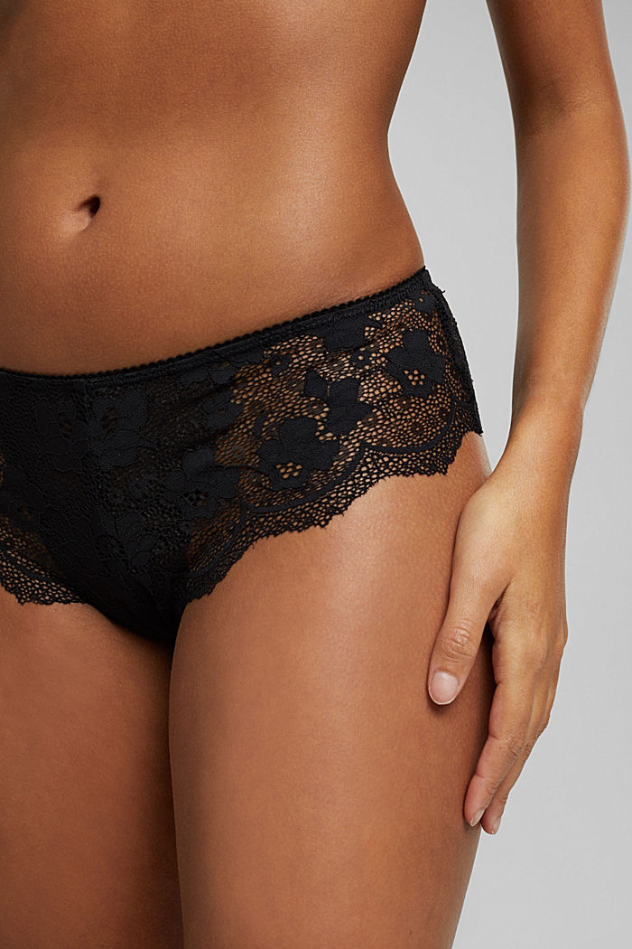 Brazilian hipster shorts made of floral lace, BLACK, detail image number 2
