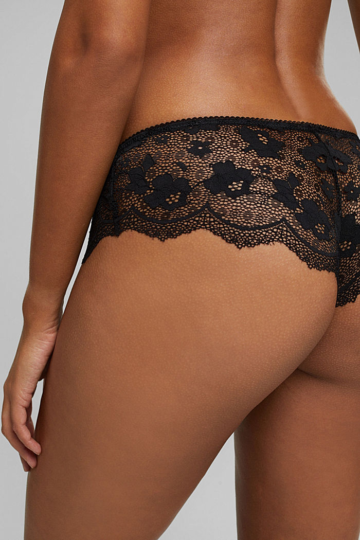 Brazilian hipster shorts made of floral lace, BLACK, detail image number 4