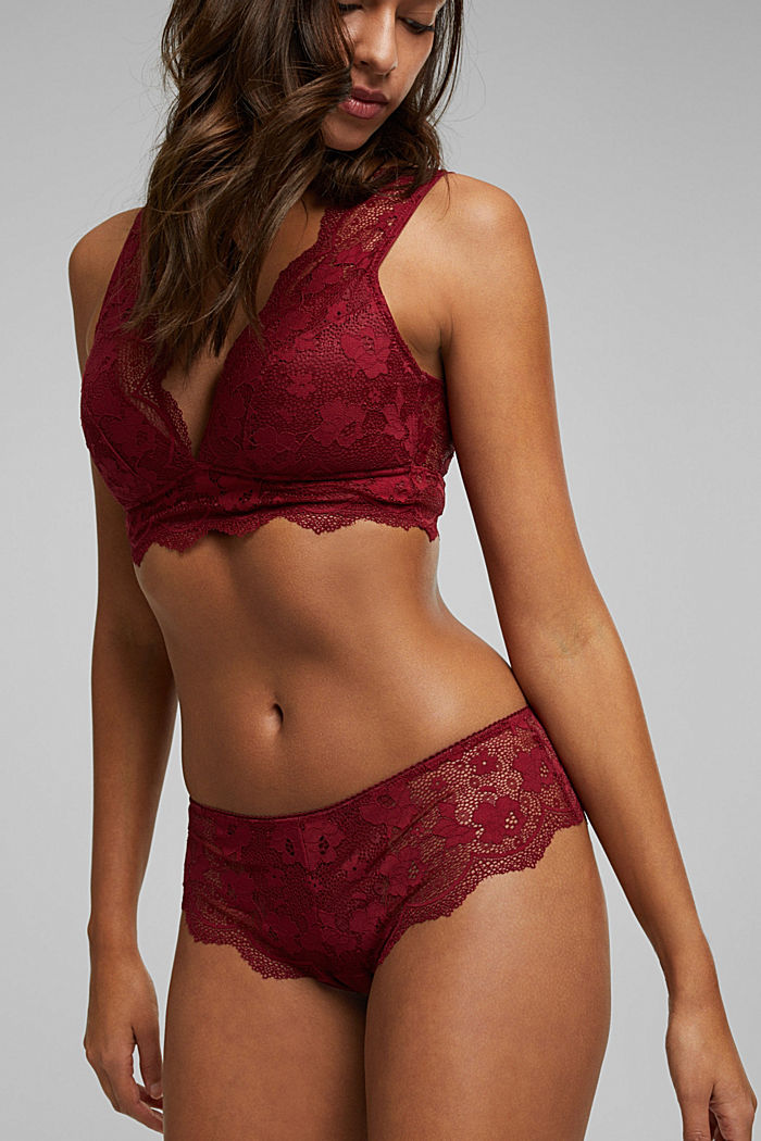 Brazilian hipster shorts made of floral lace, DARK RED, detail image number 0