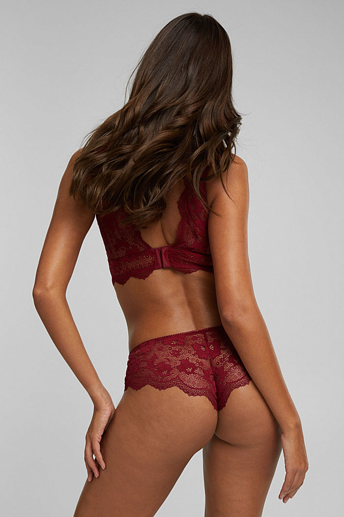 Brazilian hipster shorts made of floral lace, DARK RED, detail image number 3
