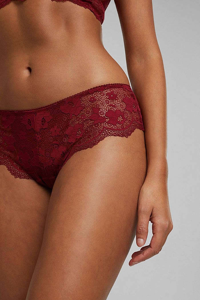 Brazilian hipster shorts made of floral lace, DARK RED, detail image number 2