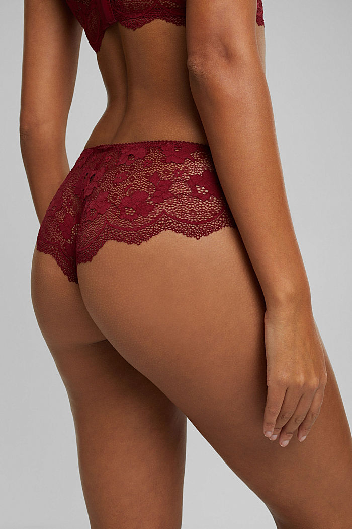 Brazilian hipster shorts made of floral lace, DARK RED, detail image number 4