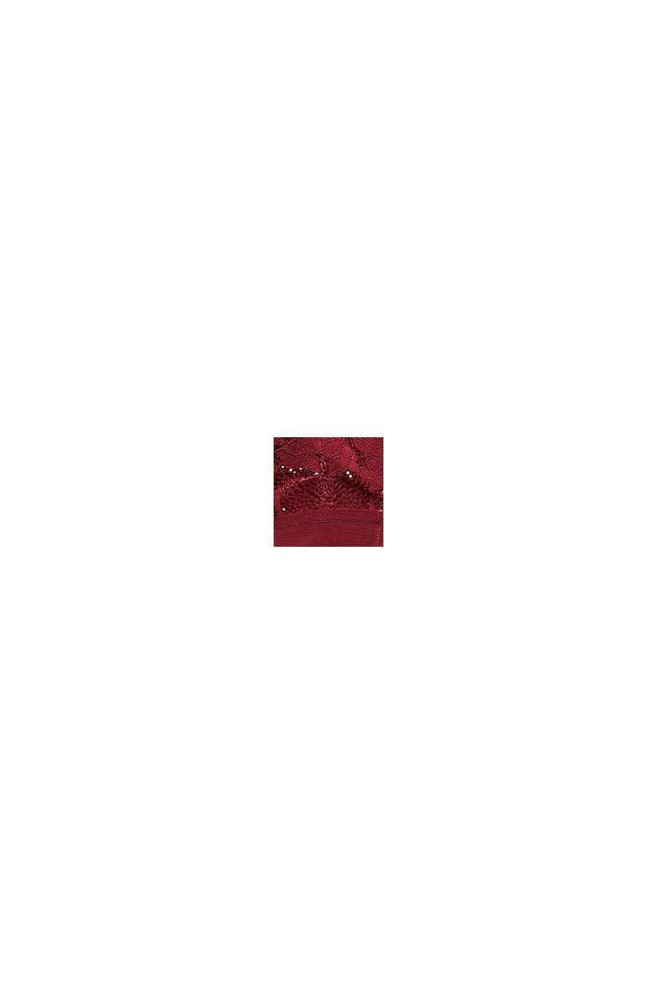 Shorty brésilien taille basse en dentelle florale, DARK RED, swatch