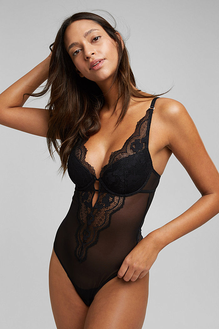 Floral lace body, BLACK, detail image number 0