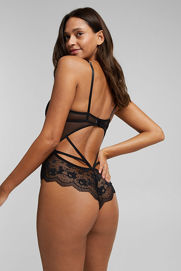 Floral lace body, BLACK, detail image number 3