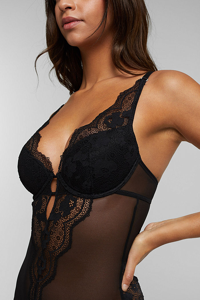 Floral lace body, BLACK, detail image number 2