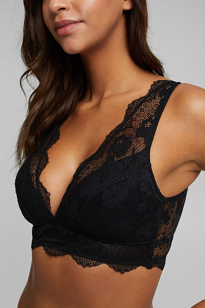 Padded wireless bra in lace, BLACK, detail image number 3