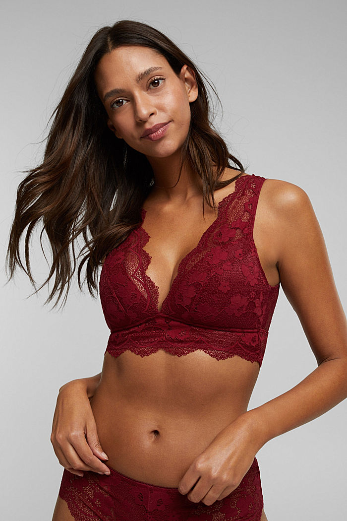 Padded wireless bra in lace, DARK RED, detail image number 0