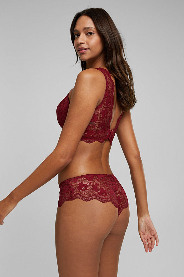 Padded wireless bra in lace, DARK RED, detail image number 1
