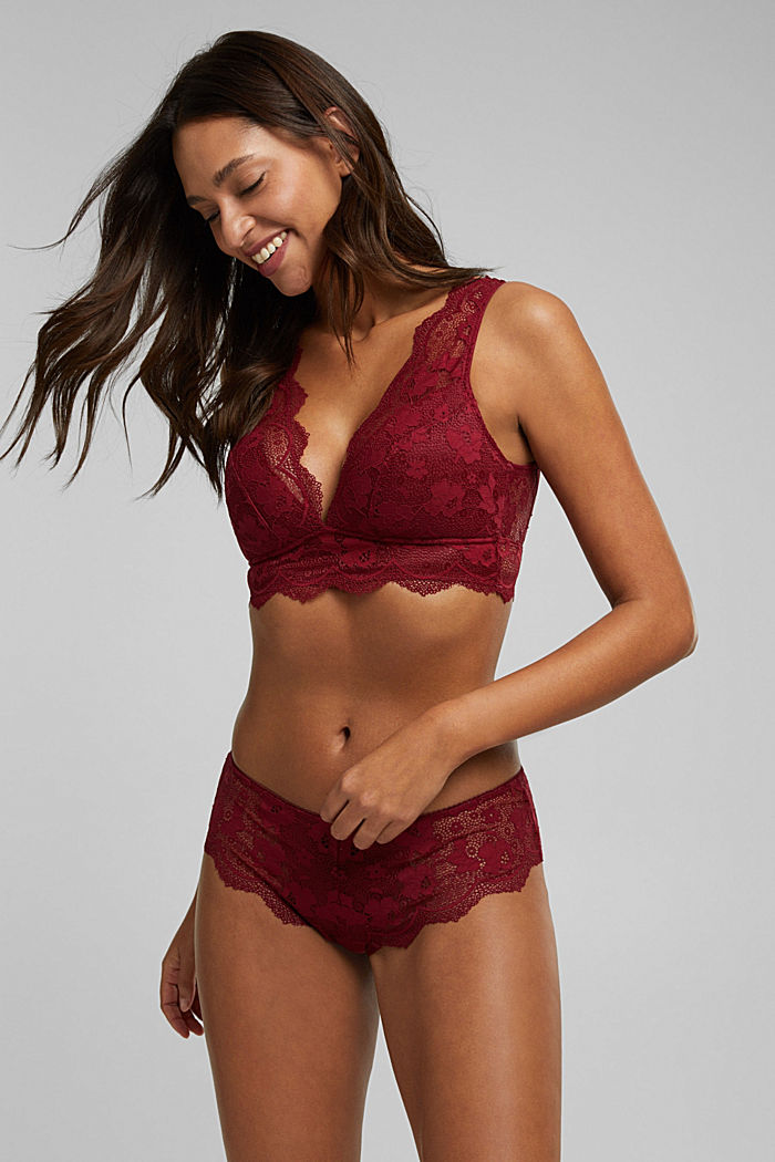 Padded wireless bra in lace, DARK RED, detail image number 2