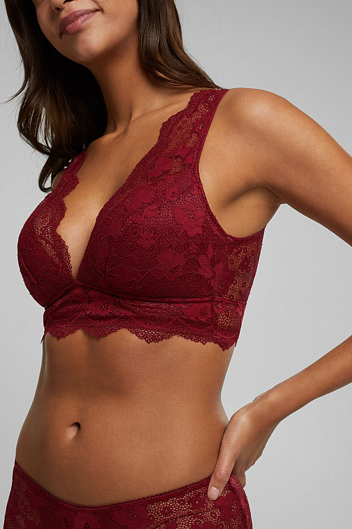 Padded wireless bra in lace, DARK RED, detail image number 3