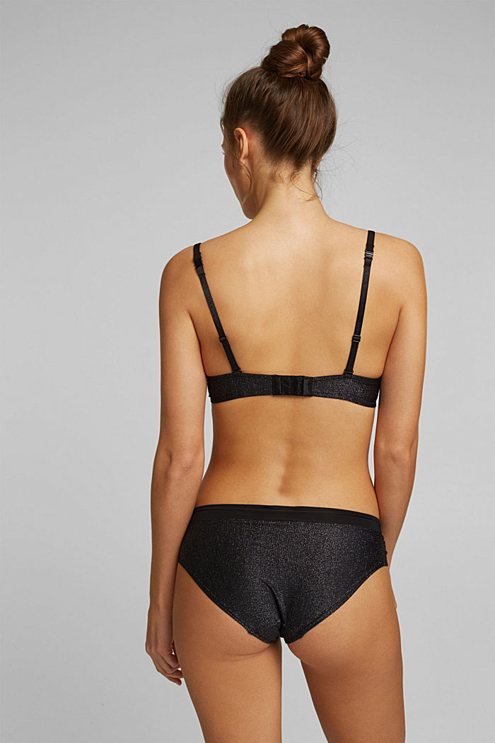 Push-up bra with sparkly stripes, BLACK, detail image number 1