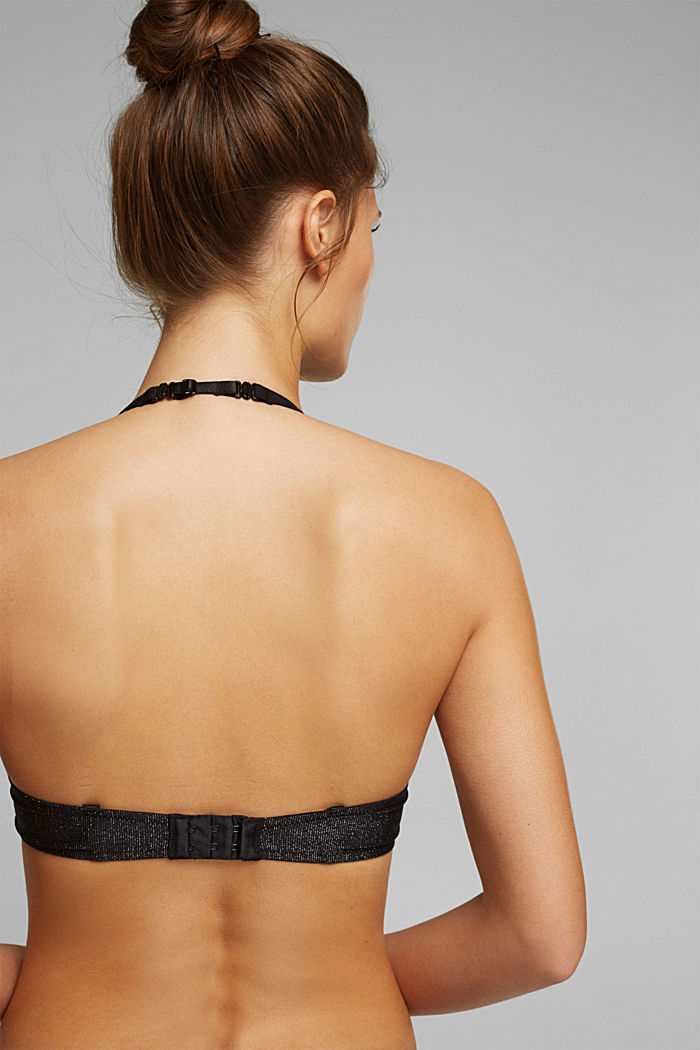 Push-up bra with sparkly stripes, BLACK, detail image number 3