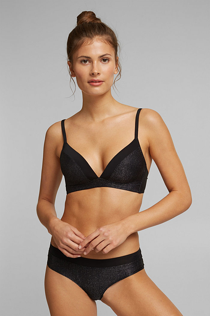 Padded bra with sparkly stripes