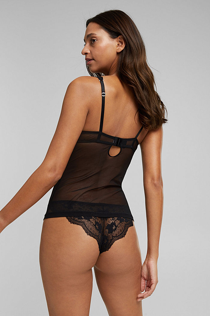 Lacy camisole with padded cups, BLACK, detail image number 1