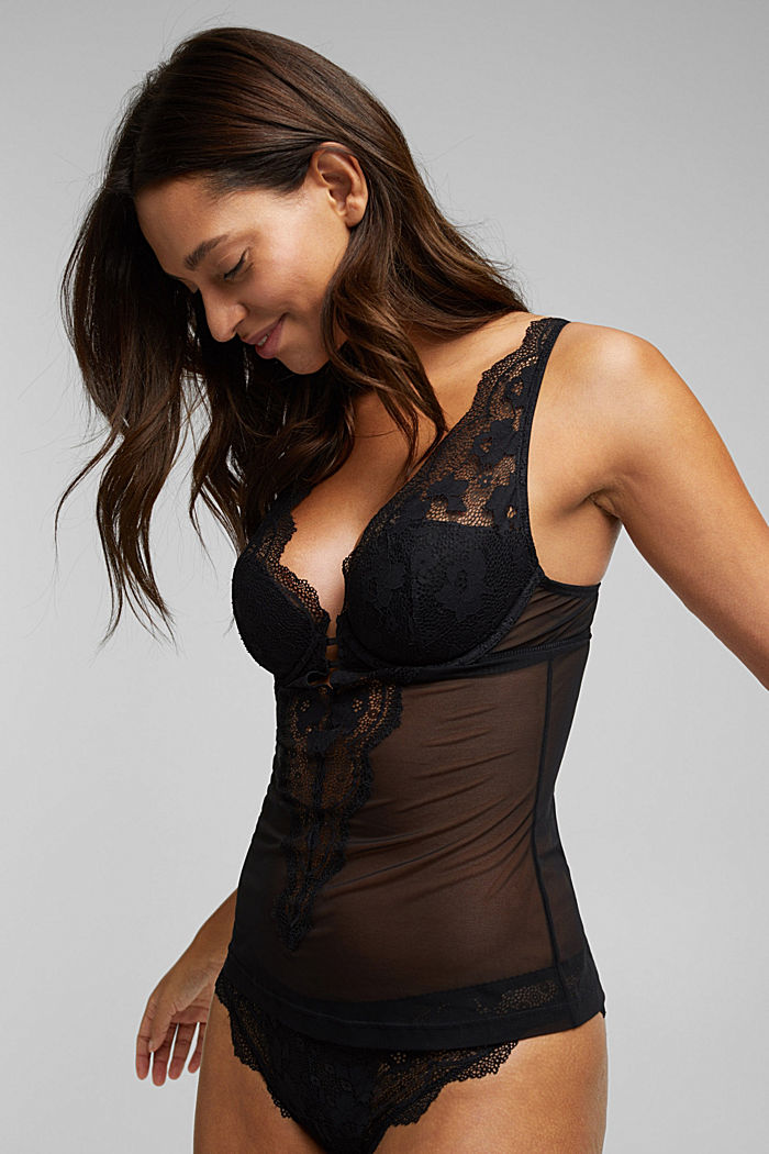Lacy camisole with padded cups, BLACK, detail image number 2