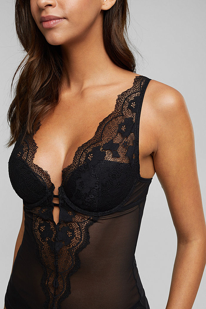 Lacy camisole with padded cups, BLACK, detail image number 3