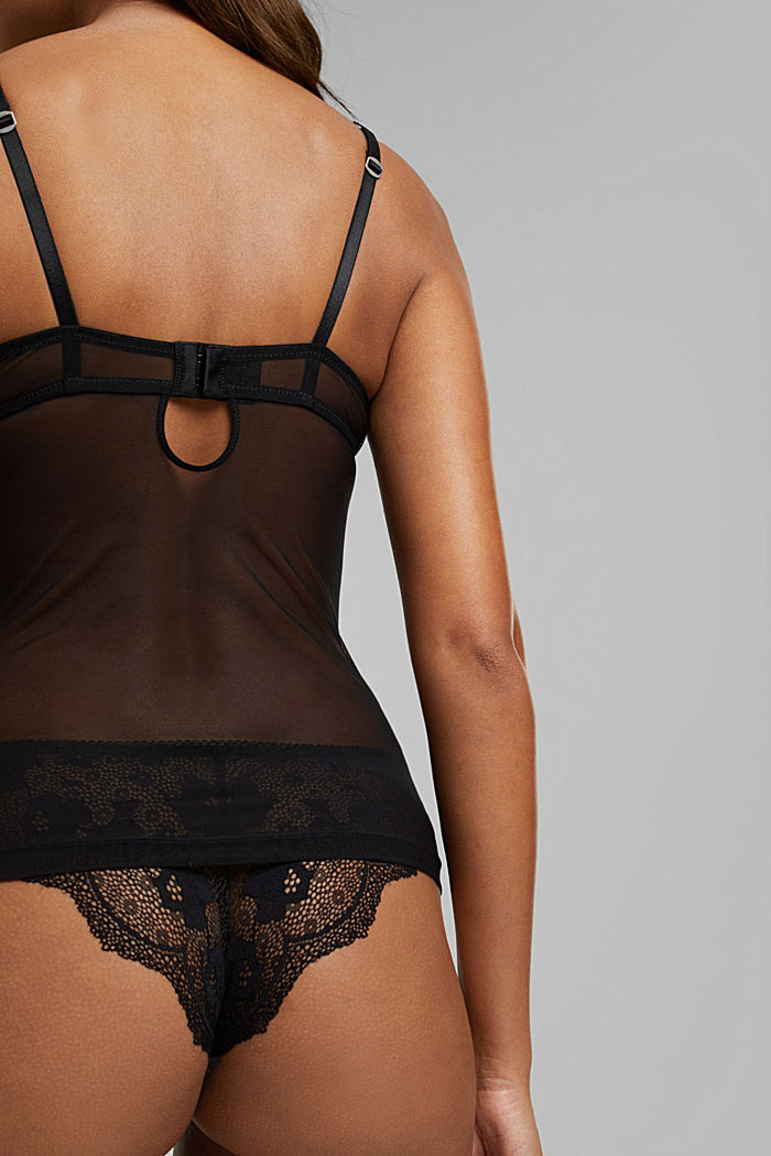 Lacy camisole with padded cups, BLACK, detail image number 4
