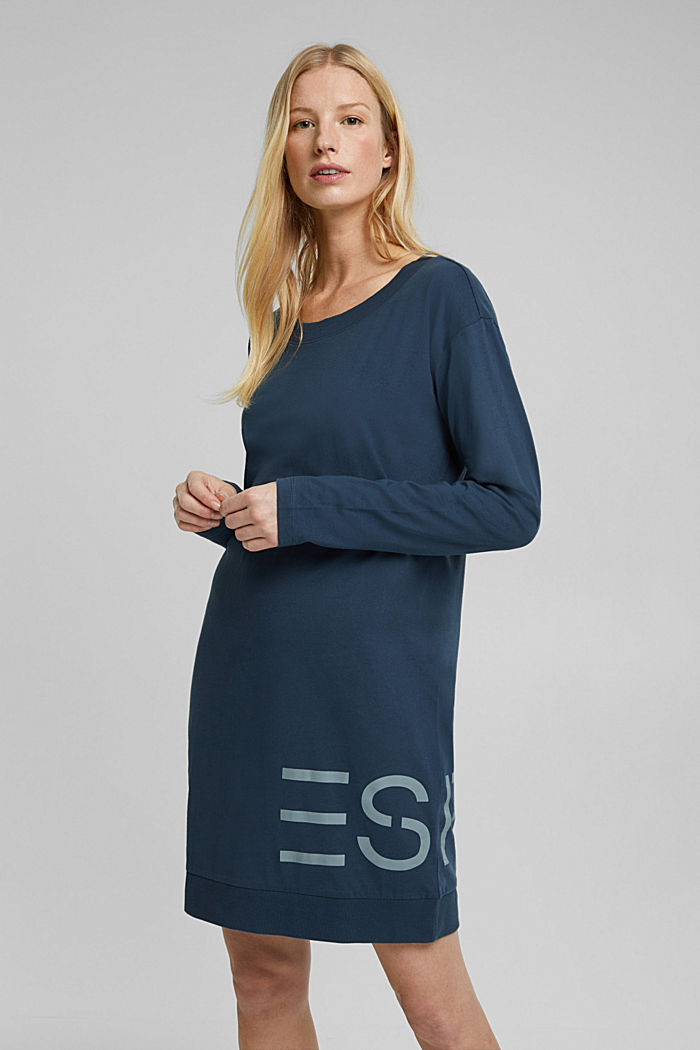 Jersey nightshirt with a logo print, INK, detail image number 1