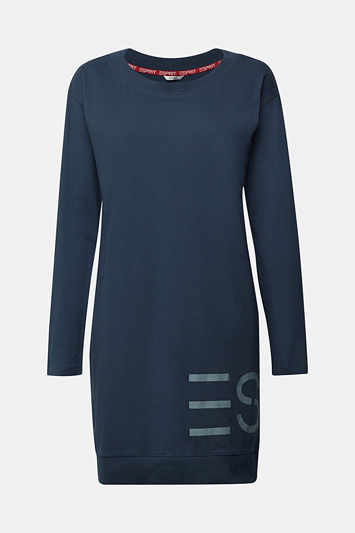 Jersey nightshirt with a logo print, INK, detail image number 6