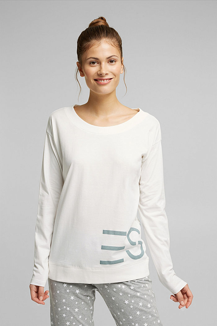 Mix + Match long sleeve top made of 100% organic cotton, OFF WHITE, detail image number 1