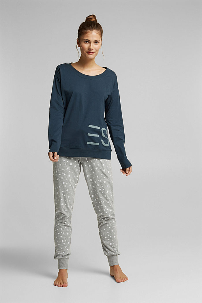 Mix + Match long sleeve top made of 100% organic cotton, INK, detail image number 0