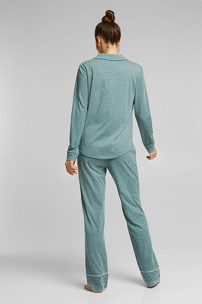 Pyjamas with an all-over print, TEAL GREEN, detail image number 1