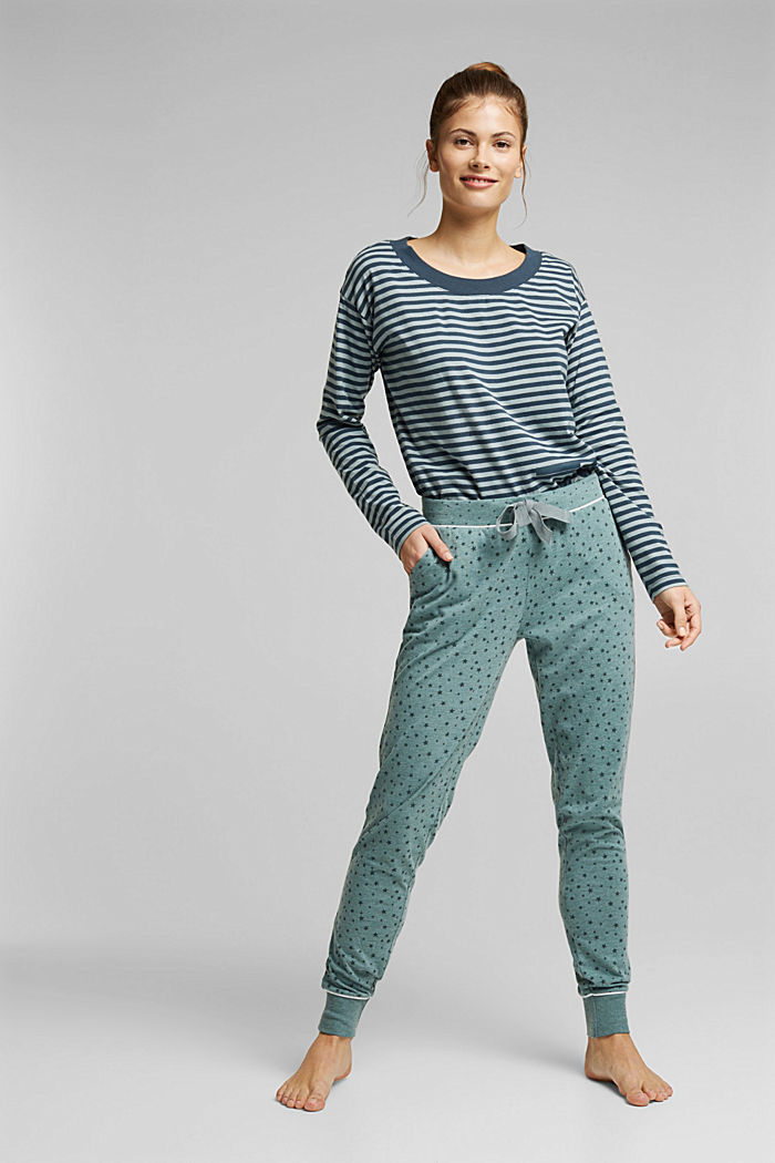 Pyjama bottoms with an all-over print, TEAL GREEN, detail image number 0