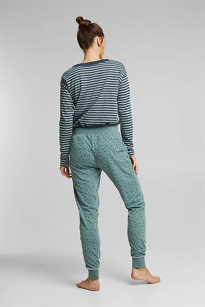Pyjama bottoms with an all-over print, TEAL GREEN, detail image number 2