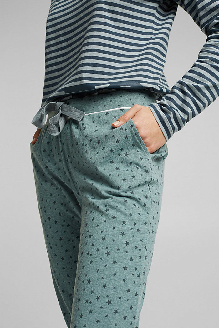 Pyjama bottoms with an all-over print, TEAL GREEN, detail image number 1