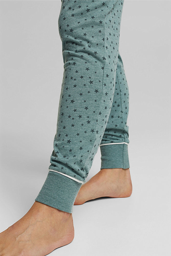 Pyjama bottoms with an all-over print, TEAL GREEN, detail image number 4