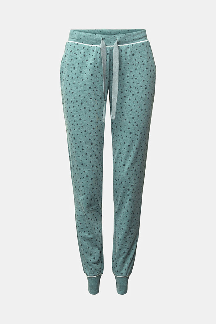Pyjama bottoms with an all-over print, TEAL GREEN, overview