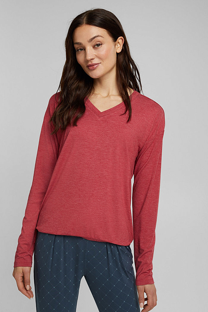 Long sleeve top with LENZING™ ECOVERO™, DARK RED, detail image number 1