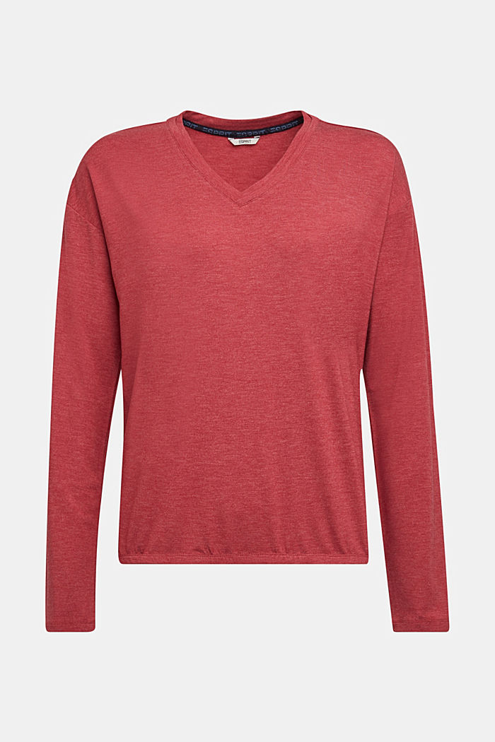 Long sleeve top with LENZING™ ECOVERO™, DARK RED, detail image number 5