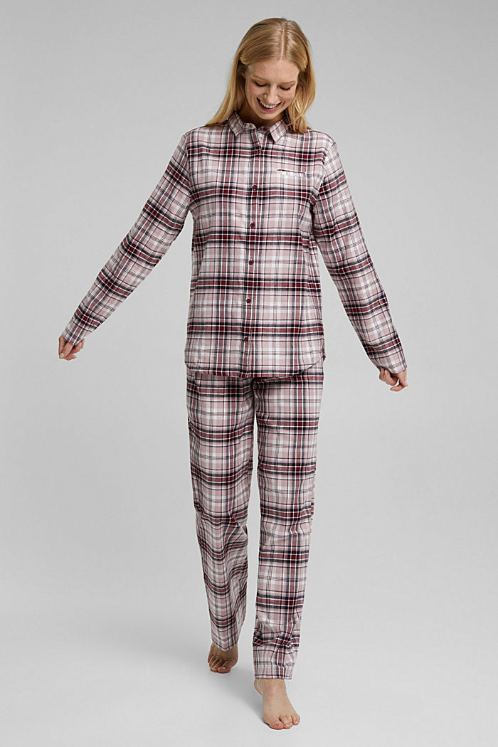 Flannel pyjamas made of organic cotton, DARK RED, detail image number 1