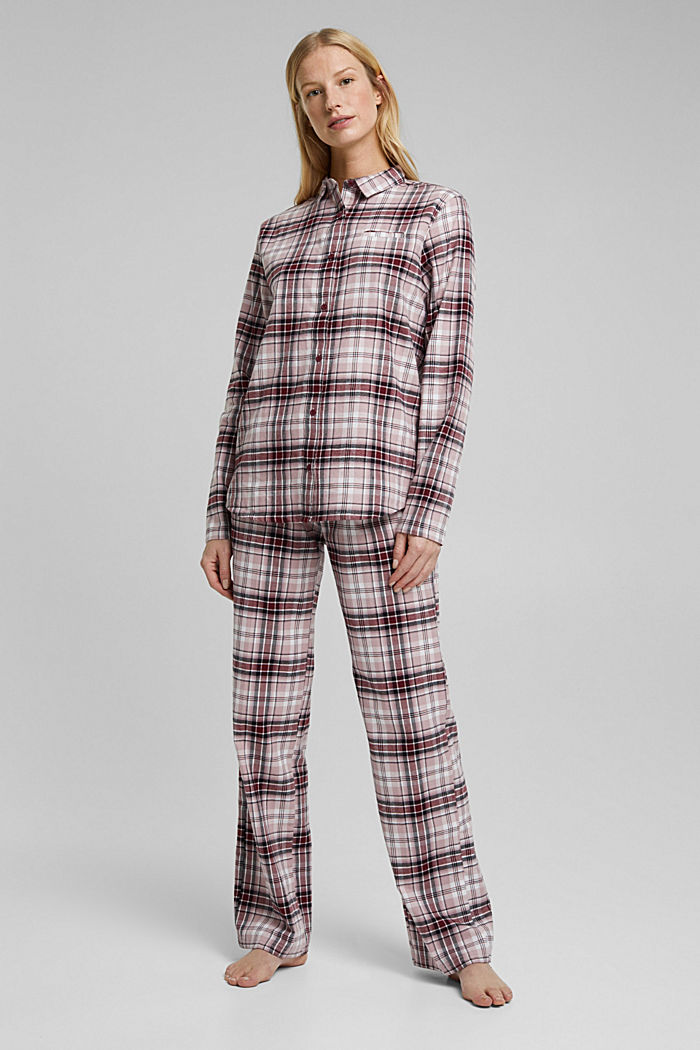 Flannel pyjamas made of organic cotton, DARK RED, detail image number 0